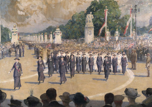 The Peace Procession, 19 July 1919 (The VADS). George Harcourt. Courtesy of Imperial War Museums