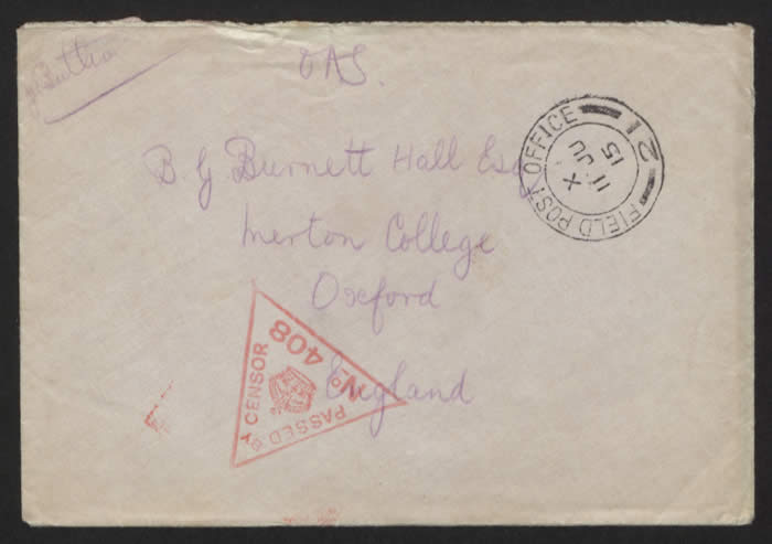 Envelope addressed to Basil Burnett Hall. Courtesy of Imperial War Museums