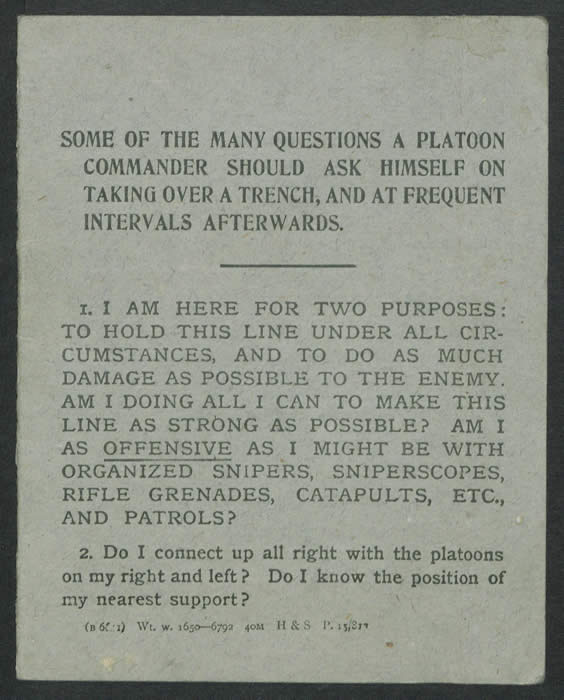Some of the Many Questions a Platoon Commander Should Ask Himself on Taking Over a Trench. Included in Brunskill, Diary 32 (24 July-18 August 1917). Courtesy of Imperial War Museums