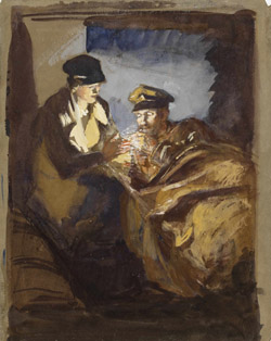 In an Ambulance: A VAD Lighting a Cigarette for a Patient. Olive Mudie-Cooke. Courtesy of Imperial War Museums